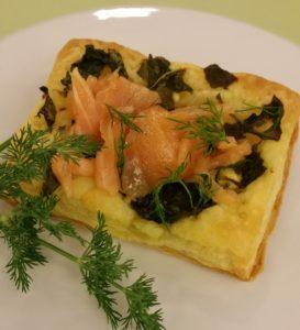 Spinach & Salmon Pastry recipe. Chef Janet Davis made it recently at a cooking demonstration class at Bloomingdale's. It's easy to make and delightfully delicious!