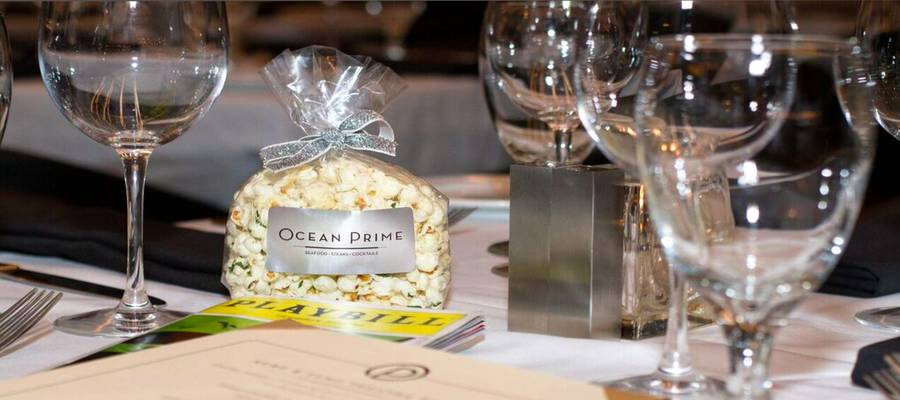 Center City's premiere luxury steakhouse and seafood restaurant  Ocean Prime is pulling out the stops for theater goers this season with pre-and post-theaterofferings that include complimentary Champagne, free truffle popcorn to go and the city's most compelling pre theater menu.
