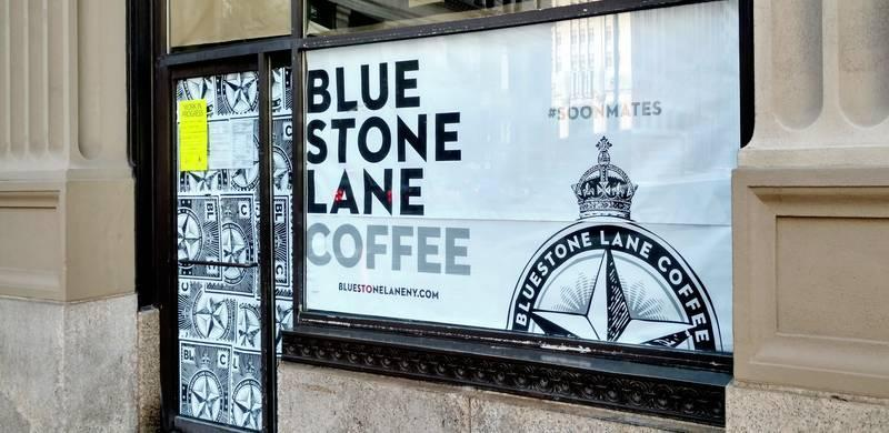 Center City Philadelphia, PA - Bluestone Lane Coffee House is moving into the old City Hall Coffee House location, across the street from Philadelphia's City Hall. The sign on the door and work permits allude to construction being done by the end of September.