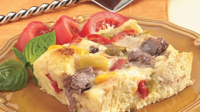 Philly Beef and Pepper Strata