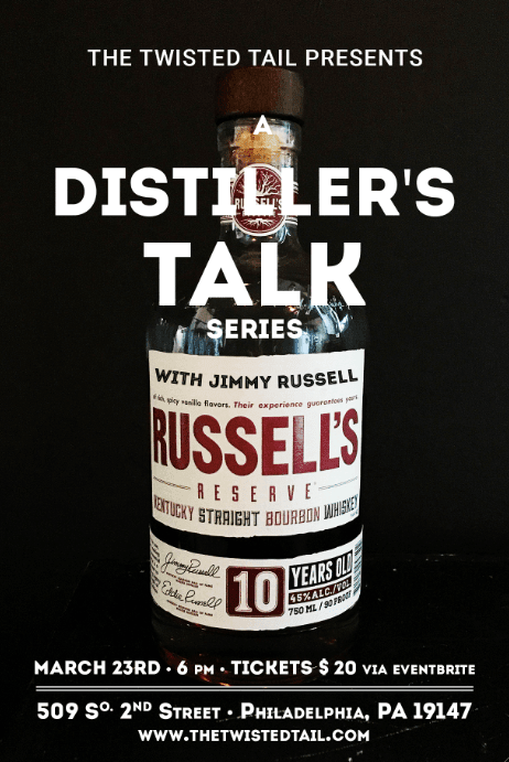 Russell will be on stage in the upstairs Juke Joint with a panel of The Twisted Tail Bourbon Club members, bartenders, and members of the media to discuss the craft of his distilling process and the 60+ years of experience he has in the industry. The whiskey veteran will also lead the panel and guests through a Wild Turkey American Whisky  spirits tasting.