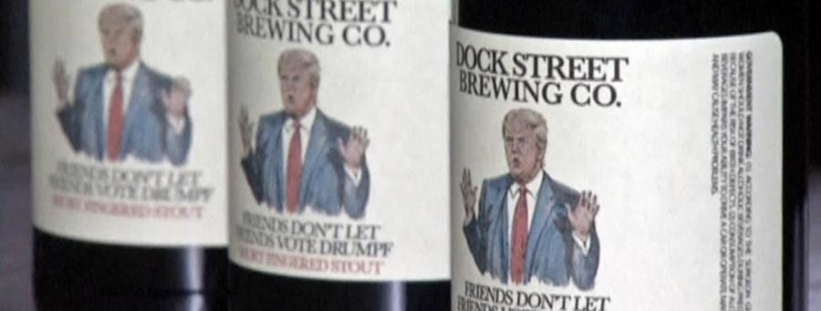 "A Philadelphia based brewery is launching as series of beer's to make a political expression at the Donald Trump Presidential run called the ""Companions Don't Let Friends Vote Drumpf"" arrangement."