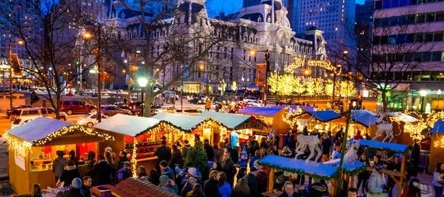 Wine Tasting at Christmas Village in Philadelphia in December