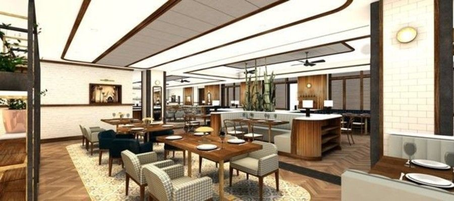 A rendering of The Refectory's dining room at Villanova University