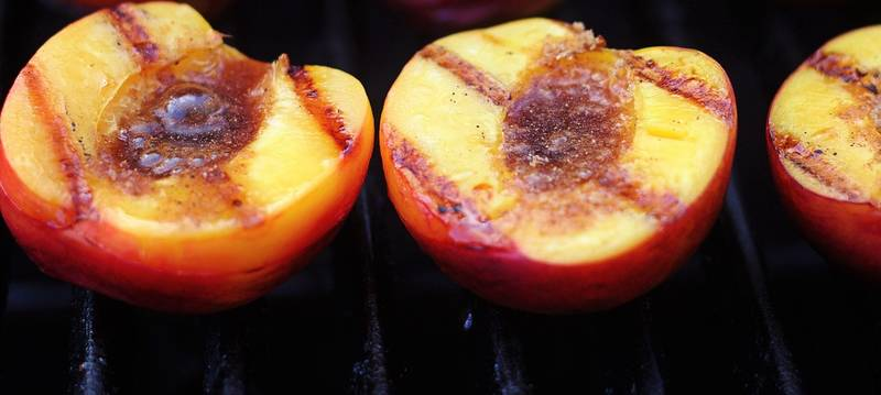 BBQ 101: Grilled Peaches with Blueberry Sauce